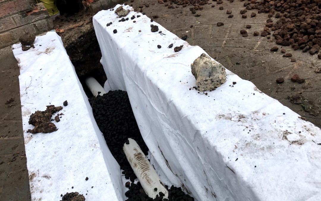 Exterior wall waterproofing. Step by step.  How to install a french drain.